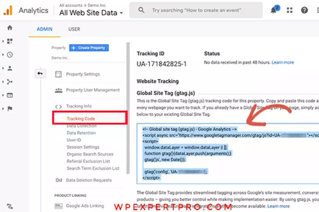 copy your Google Analytics tracking code