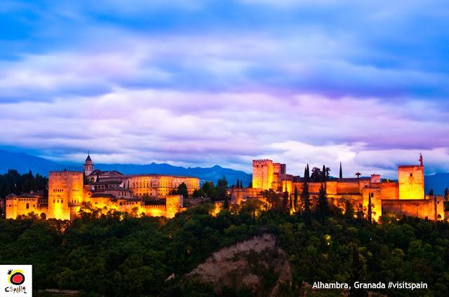 Alhambra, Granada, Espanha vista do Albaicín