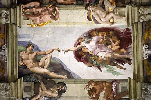 Frescos de la bóveda de la Capilla Sixtina de Miguel Ángel (Detalle de la Creación de Adán)La Cre