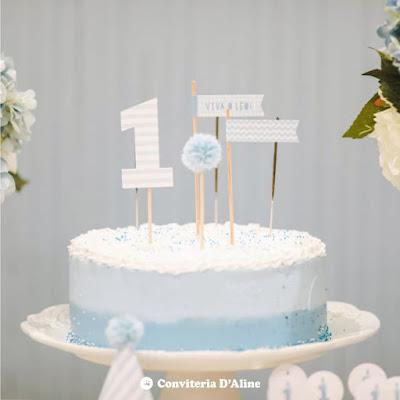 topo bolo personalizado aniversario menino azul