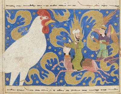 Valtaisa valkoinen kukko, Muhammad (rh) siivekkään ratsun selässä sekä enkeli Gabriel