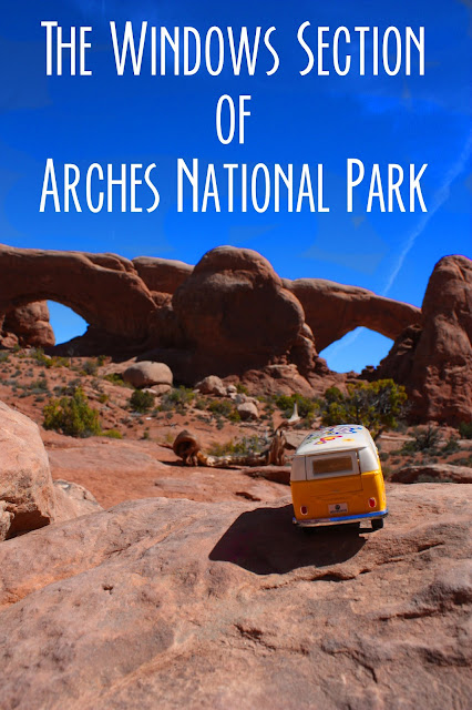 Title Card for the Windows Section of Arches National Park, showing the yellow van facing the windows