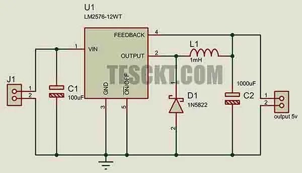 Automobile battery-based USB charger using lm2576