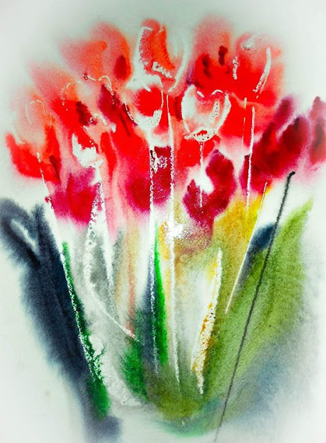 painting of red tulips flowers with long green stems