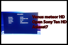 Receiver Venus Meteor HD Open Sony Ten HD asiasat7