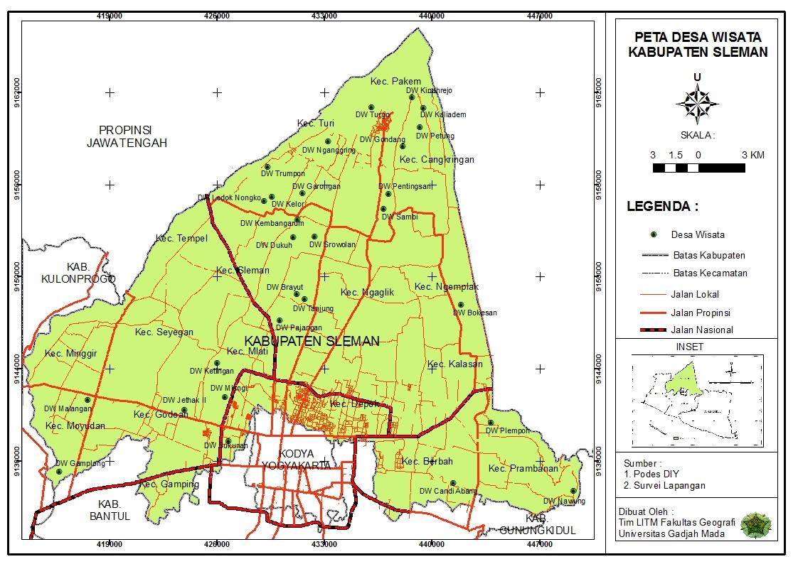 > Peta Lengkap Indonesia: Peta Desa Wisata Kabupaten Sleman
