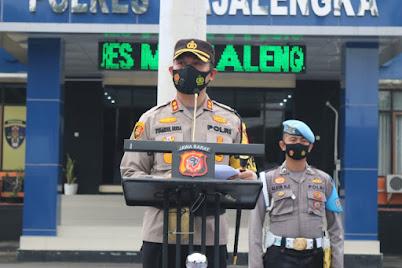 Kapolres Majalengka Pimpin Upacara Korp Raport Kenaikan Pangkat Pengabdian TMT 1 Maret 2021