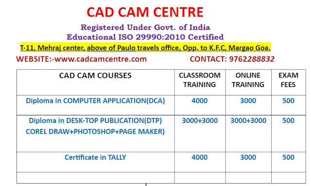 Computer Course Fees Goa India (DTP, DCA, TALLY) for the year 2021
