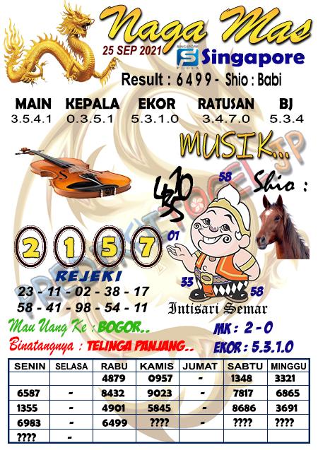 Syair Naga Mas SGP Sabtu 25 September 2021