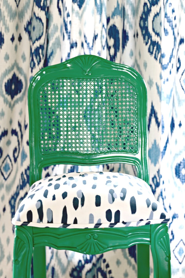 Vern Yip Blue Fabric, Blue Ikat Curtains, Glossy Green barstools, madcap cottage  reef indigo fabric