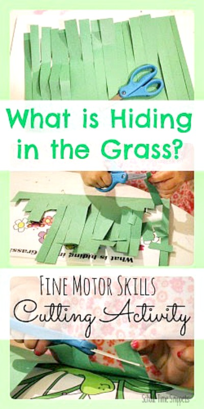 cutting grass preschool scissor skills