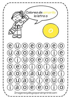 Fichas de las vocales para imprimir Aprender la vocal o