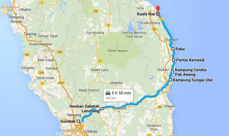 Dari Kuala Lumpur ke Kuala Terengganu