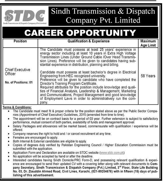 www.stdc.com.pk Jobss 2021 - Sindh Transmission & Dispatch Company Pvt Limited (STDC) Jobs 2021 in Pakistan