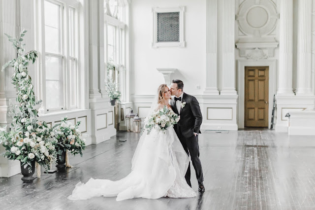 bride and groom in beautiful room