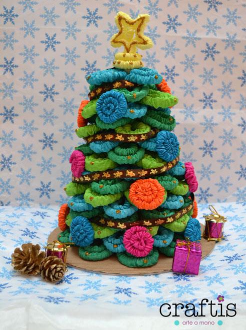 cmo hacer un arbolito de navidad de papel crep