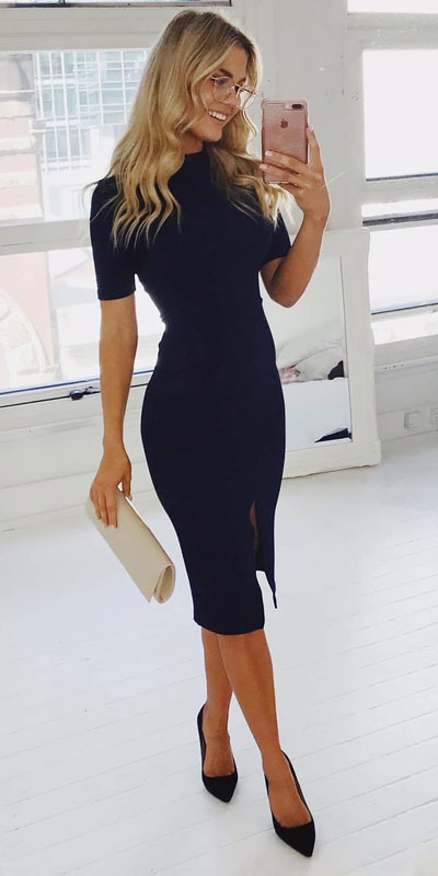 Looking forward to walking your workspace with style? Check out these 24 Stylish Summer Work Outfits for Women that are Office-friendly. Work Wear via higiggle.com | midi dress | #summeroutfits #office #workoutfits #dress