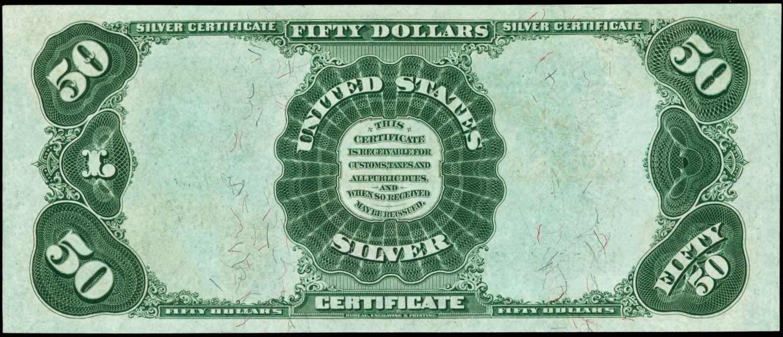 American money 50 Dollars Silver Certificate 1891