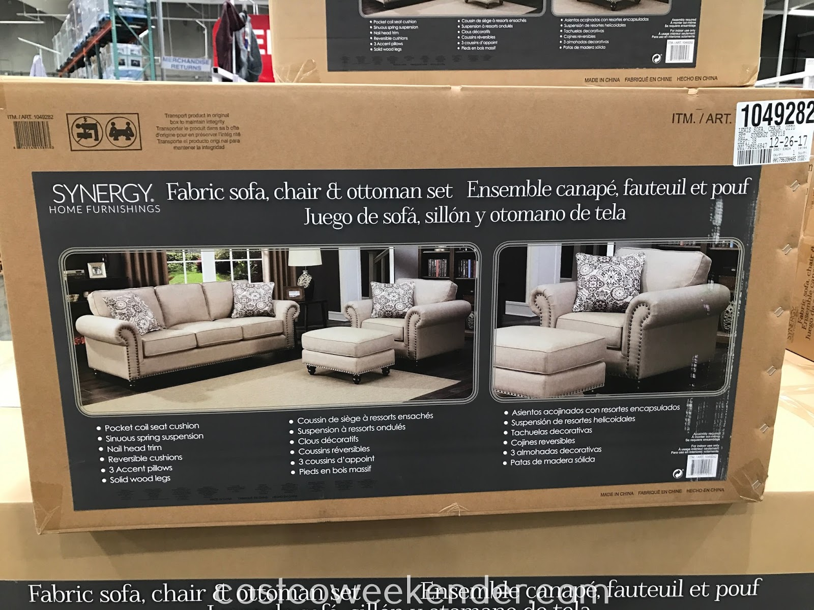 Costco 1049282 - Make your living room or family room complete with the Synergy Home Fabric Sofa, Chair & Ottoman Set
