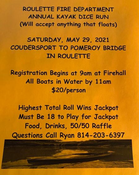 5-29 Roulette Fire Dept. Annual Kayak Dice Run