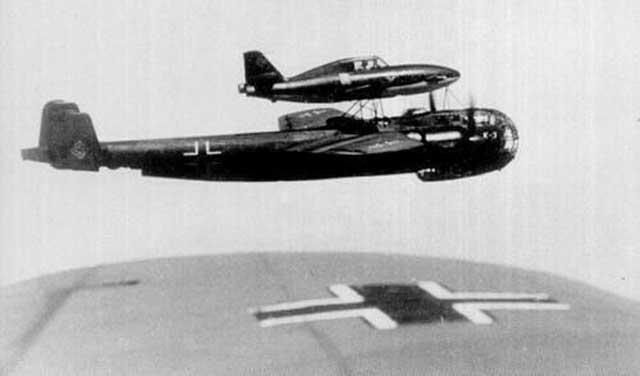 Mistel bomber ME 328 on a DO-217 worldwartwo.filminspector.com
