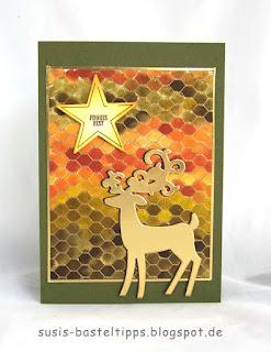 Weihnachtskarte diy handgemacht mit Hisch und Stern in Gold, hintergrundtechnik, verschiedene HIntergrund Variationen mit dem Stampin' Up! Stempel all wired up und Farben, Idee von Stampin' Up! Demonstratorin in Coburg