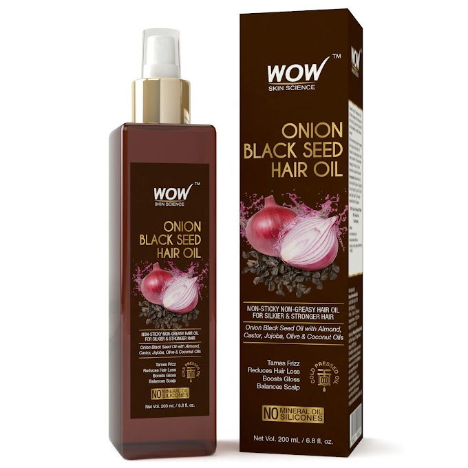 Rs,394/- WOW Onion Black Seed Hair Oil - Promotes Hair Growth - Controls Hair Fall - No Mineral Oil & Silicones - 200mL