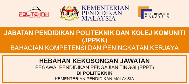 Jawatan Kosong Pegawai Pendidikan Pengajian Tinggi (PPPT) Di Politeknik KPM