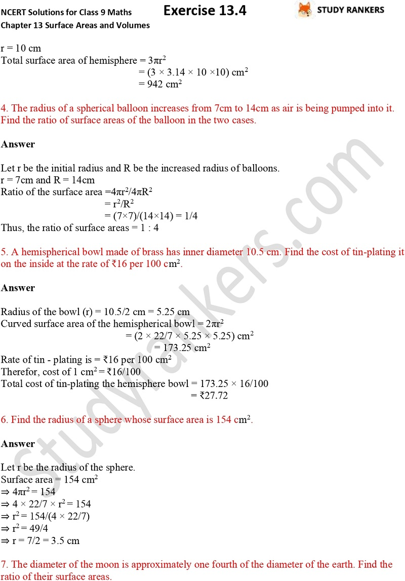 NCERT Solutions for Class 9 Maths Chapter 13 Surface Areas and Volumes Exercise 13.4 Part 2