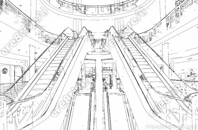 エスカレーター_線画2
