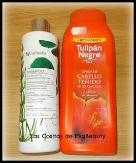 Champú anticaída Vis Plantis y Champú para cabello teñido Tulipán Negro #productosterminados #empties #terminados
