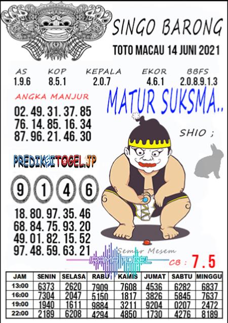 Syair Top Singo Barong Toto Macau Senin 14 Juni 2021