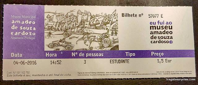 Ingresso para o Museu Amadeo de Souza-Cardoso, Amarante, Portugal