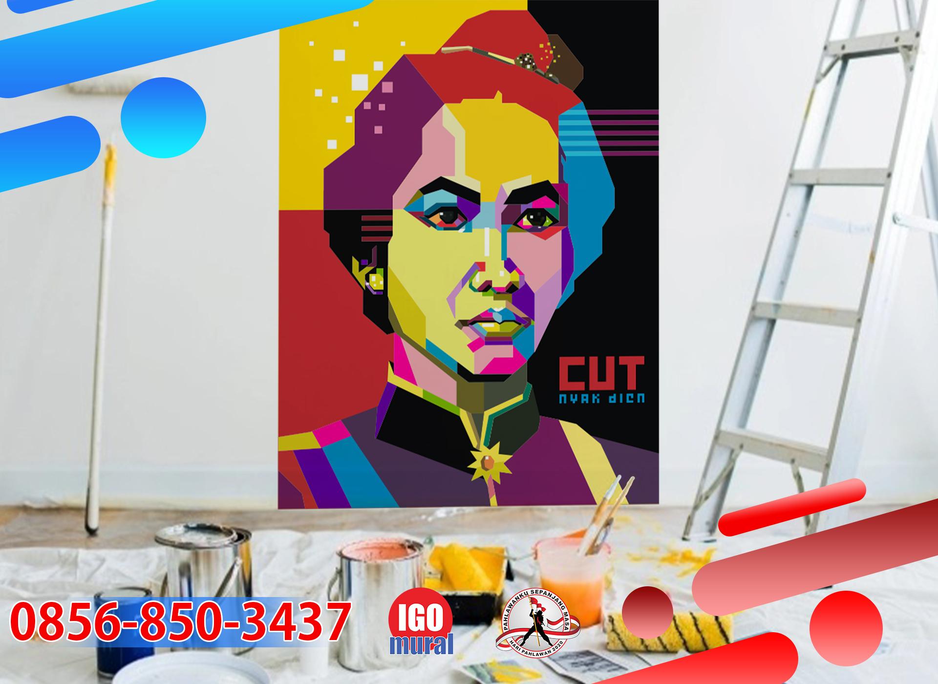 gambar mural pahlawan cut nyak dien