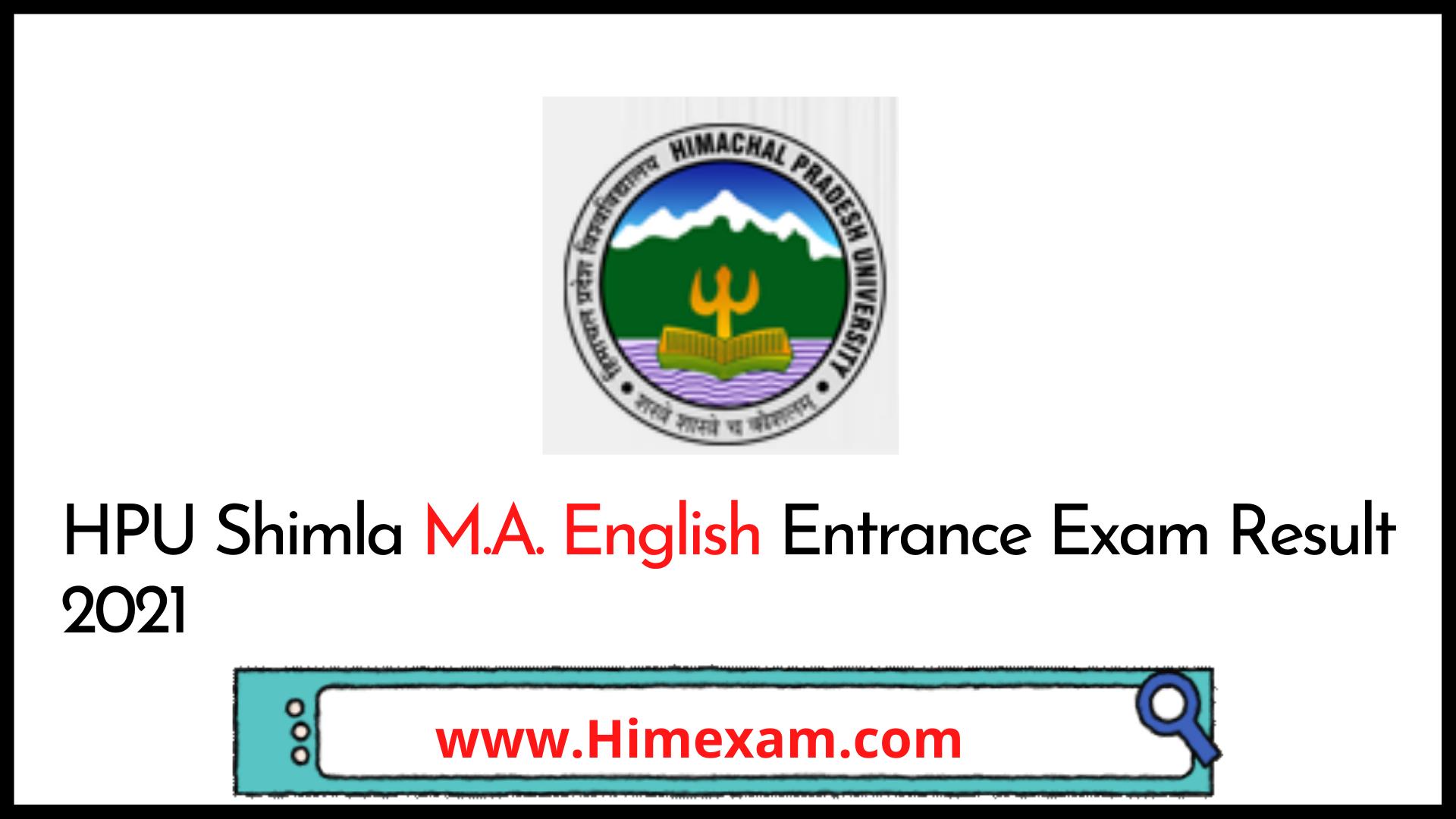 HPU Shimla M.A English Entrance Exam Result 2021