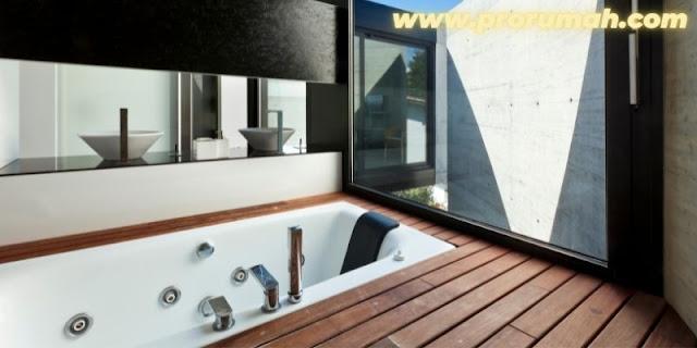 Inspirasi Penempatan Decking Bengkirai - area kamar mandi
