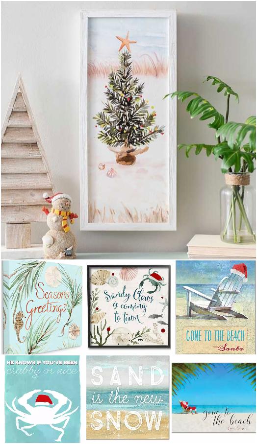 Coastal Christmas Art Sayings Prints Canvas Framed