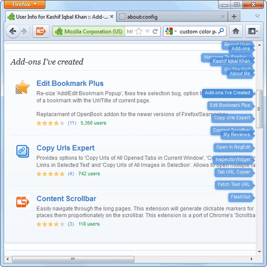 Content Scrollbar for Firefox