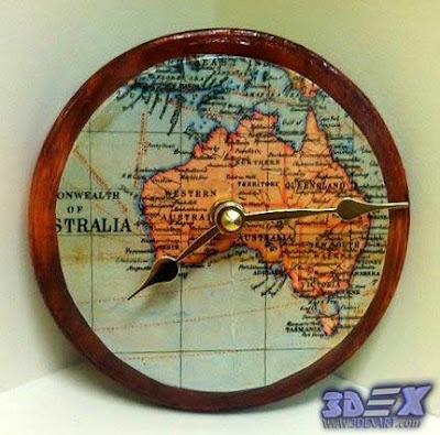 diy clock with maps, world map artwork, world map decor for interior design