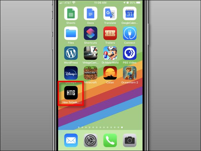 تمت إضافة اختصار ويب إلى الشاشة الرئيسية على iPhone