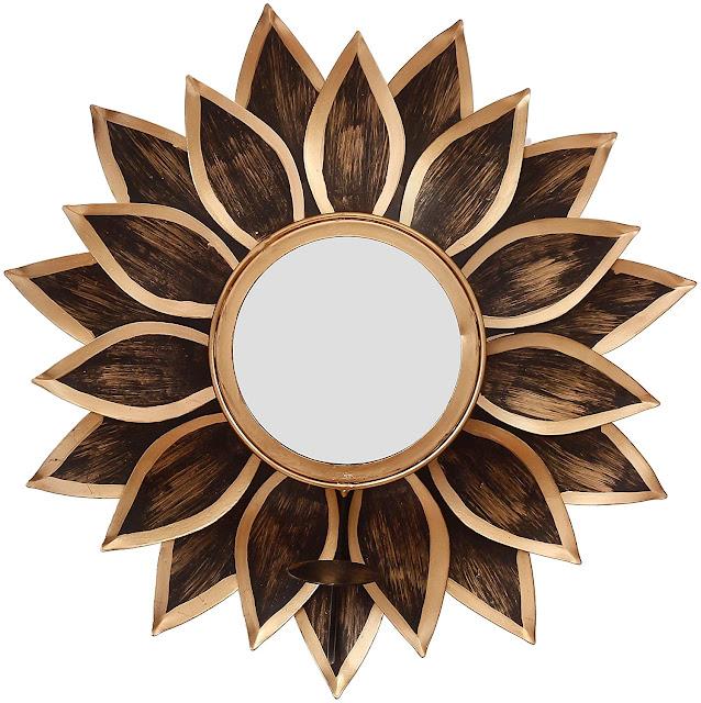 WebelKart Wall Delight Mirror Wall Sconce Tealight Holder (16 Inch; Golden)