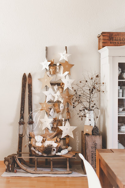 adventskalender, sterne, advent, kalender, vintage, gwiegabriela