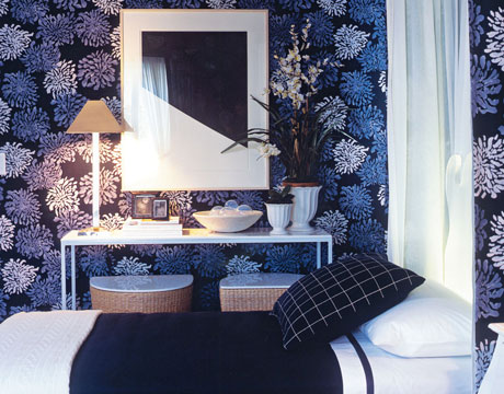 white and navy bedroom indigo