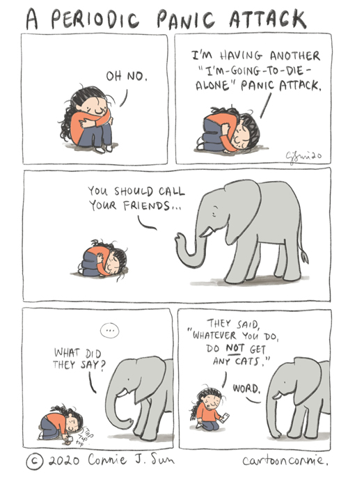 panic attack, single life, humor, comics, connie sun, elephant comic, cartoonconnie
