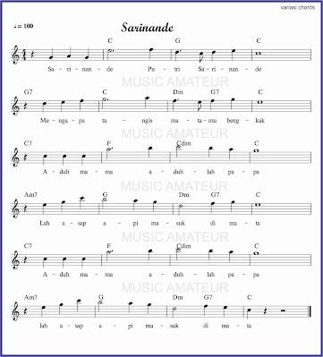 gambar notasi sarinande akor banyak