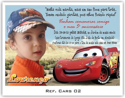 convite personalizado modelo de carro cars