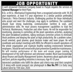 PO Box No 791 Daily Jang Lahore Jobs