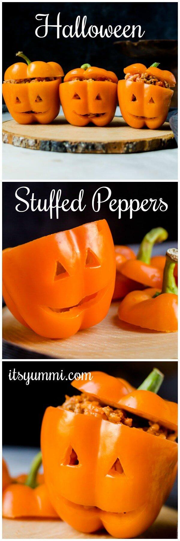 Halloween Stuffed Peppers Jack O Lanterns