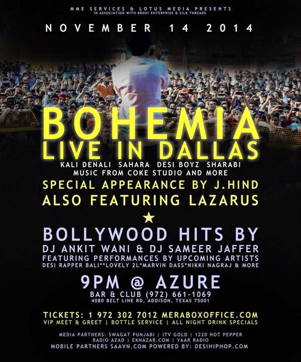 BOHEMIA LIVE IN DALLAS AT AZURE - NOVEMBER 14 2014 - WITH J.HIND AND LAZARUS - Pesa Nasha Pyar - Desi Hip Hop