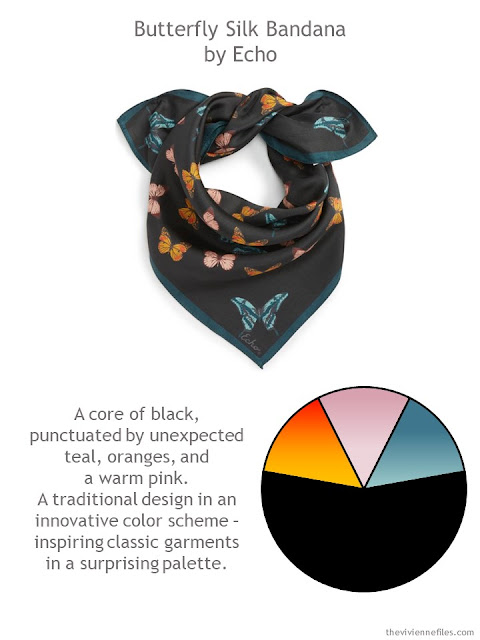 Echo Butterfly Silk Bandana in black with teal with style guidelines and color palette